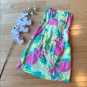 LILLY PULITZER dress size 6 strapless green pink